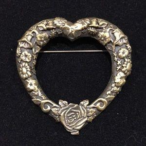 Vintage JJ Jonette  Jacobean Floral Heart Brooch